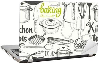 Laptop-Aufkleber Nahtlose Hintergrund mit Küchengeräten und Werkzeugen. Menü-Muster.