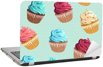 Laptop-Aufkleber Nahtlose kleine Kuchen und Polka Dot