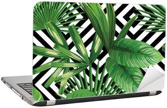 Laptop-Aufkleber Tropischen Palmen verlässt Muster, geometrische Hintergrund
