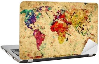 Laptop-Aufkleber Weinlese-Weltkarte. Bunte Farben, Aquarell auf Papier Grunge