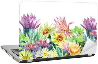 Akvarel blomstrende kaktus baggrund Laptop Klistermærke