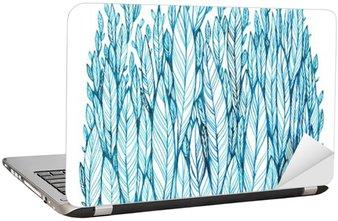 Mønster af blå blade, græs, fjer, akvarelblæk tegning Laptop Klistermærke
