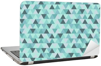 Abstract Christmas triangle pattern, blue grey geometric winter holiday background Laptop Sticker