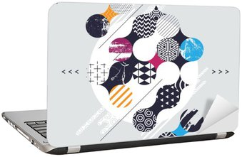 Abstract geometric composition with decorative circles Laptop Sticker