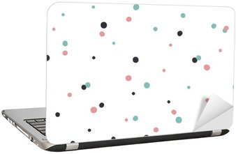 Laptop Sticker Abstract Seamless Pattern on White Background with Black and Gol