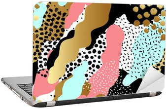 Laptop Sticker Abstract seamless pattern or background with gold foil, pink,black, white, blue colors.