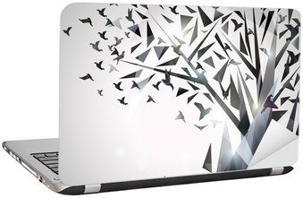 Abstract Tree with origami birds. Laptop Sticker