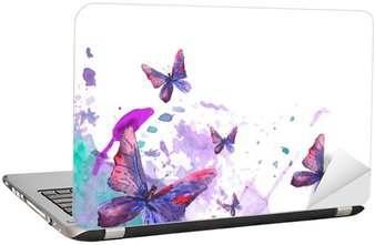 Laptop Sticker Abstract watercolor background with butterflies