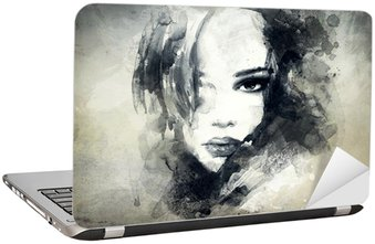 abstract woman portrait Laptop Sticker