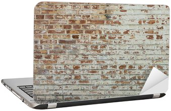 Laptop Sticker Background of old vintage dirty brick wall with peeling plaster