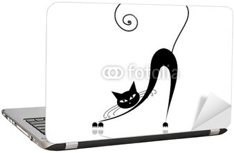Black cat silhouette for your design Laptop Sticker
