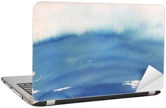 blue ombre watercolor background Laptop Sticker