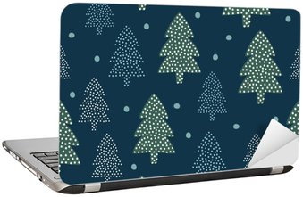 Christmas pattern - Xmas trees and snow. Happy New Year nature seamless background. Forest design for winter holidays. Vector winter holidays print for textile, wallpaper, fabric, wallpaper. Laptop Sticker