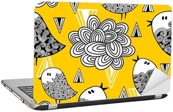 Creative seamless pattern with doodle bird and design elements.