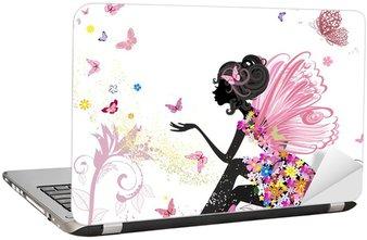 Laptop Sticker Flower Fairy in het milieu van de vlinders
