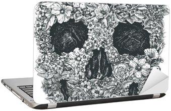 Flower Skull Vector Laptop Sticker