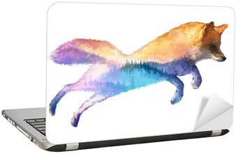 Fox double exposure illustration Laptop Sticker