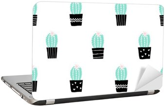 Laptop Sticker Hand Drawn Cactus Pattern