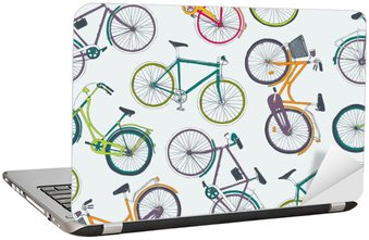 Laptop Sticker hand drawn vector seamless pattern with city bikes