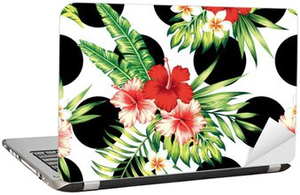 hibiscus and palm leaves pattern Laptop Sticker
