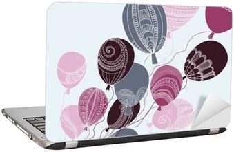 Laptop Sticker Illustratie met kleurrijke vliegende ballonnen