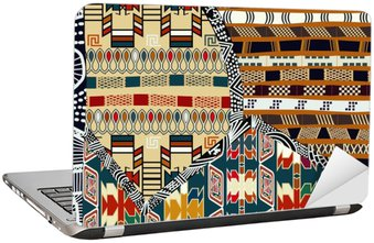 Indian tribal colored seamless pattern.Vector illustration Laptop Sticker