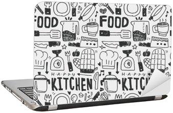 Kitchen elements doodles hand drawn line icon,eps10 Laptop Sticker