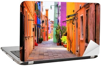 Laptop Sticker Kleurrijke straat in Burano, vlakbij Venetië, Italië