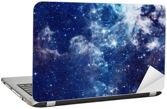 Laptop Sticker Melkweg illustratie, ruimte achtergrond met sterren, nevel, kosmos wolken