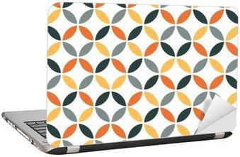 Orange Geometric Retro Seamless Pattern Laptop Sticker