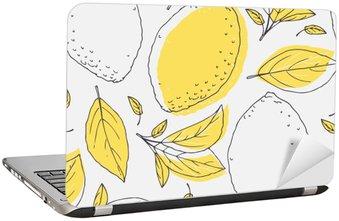 Laptop Sticker Outline naadloze patroon met de hand getekende citroen en bladeren. Doodle fruit voor verpakking of keuken ontwerp