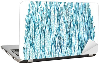 Laptop Sticker pattern of blue leaves, grass, feathers, watercolor ink drawing