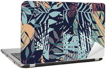 Laptop Sticker pattern with tropical leaves
