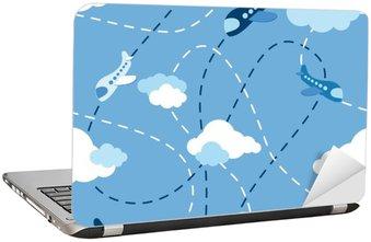 Seamless airplane pattern Laptop Sticker