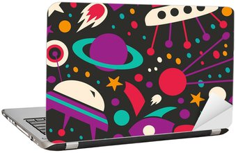 Seamless contrast cosmic pattern Laptop Sticker