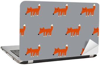 seamless cute fox pattern Laptop Sticker