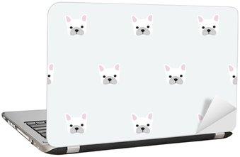 seamless french bulldog pattern Laptop Sticker