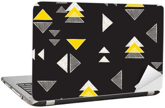 Laptop Sticker Seamless hand-drawn triangles pattern.