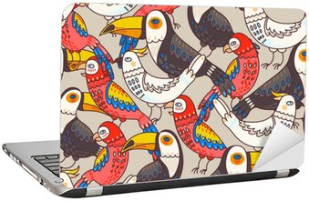 Laptop Sticker Seamless macaw and toucan
