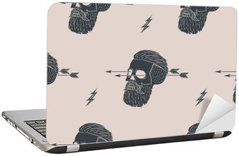 Laptop Sticker Seamless pattern background of vintage skull hipster with arrow. Graphic design for wrapping paper and fabric texture of shirt. Vector Illustration
