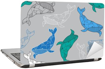 Seamless sea pattern with hand drawn whales Laptop Sticker