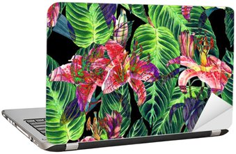 Seamless tropical floral pattern. Pink lilies and exotic calathea leaves on black background, inverted effect. Hand painted watercolor art. Fabric texture.