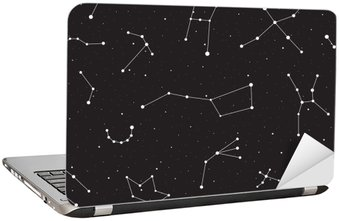 Starry night, seamless pattern, background with stars and constellations, vector illustration Laptop Sticker