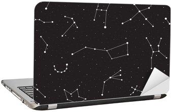 Laptop Sticker Sterrenhemel, naadloze patroon, achtergrond met sterren en sterrenbeelden, vector illustratie