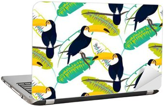 Toco toucan bird on banana leaves seamless vector pattern on white background. Tropical jungle leaf and exotic bird sitting on branch. Laptop Sticker