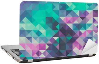 Laptop Sticker Triangle background, green and violet