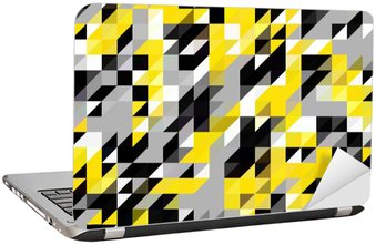Laptop Sticker Triangle geometric shapes pattern. black and yellow