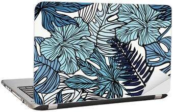 Tropical exotic flowers and plants with green leaves of palm. Laptop Sticker