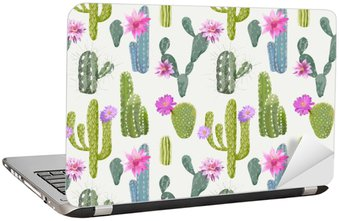 Laptop Sticker Vector Cactus Background. Seamless Pattern. Exotic Plant. Tropic