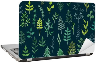 Laptop Sticker Vector green watercolor floral seamless pattern.